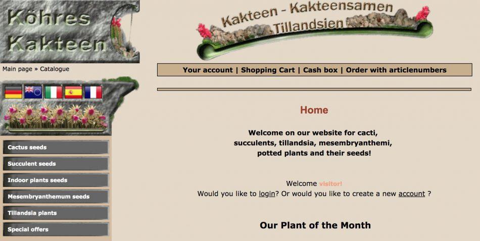 ケーレスのホームページのキャプチャ画像