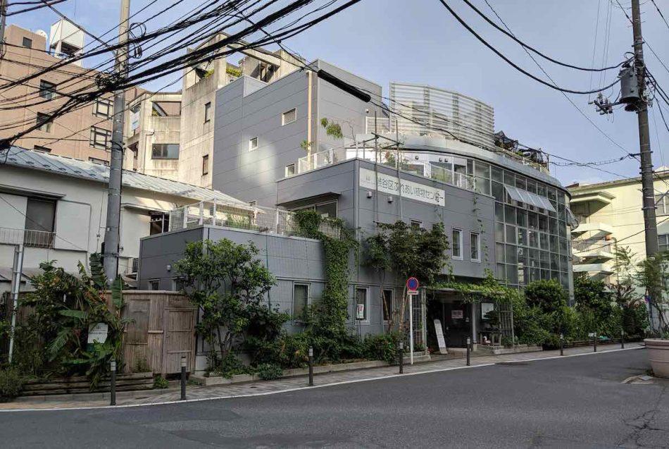 渋谷区ふれあい植物センターの外観、温室が植物園っぽい