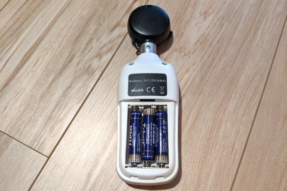 照度計サンワサプライ CHE-LT1に電池を入れたところ
