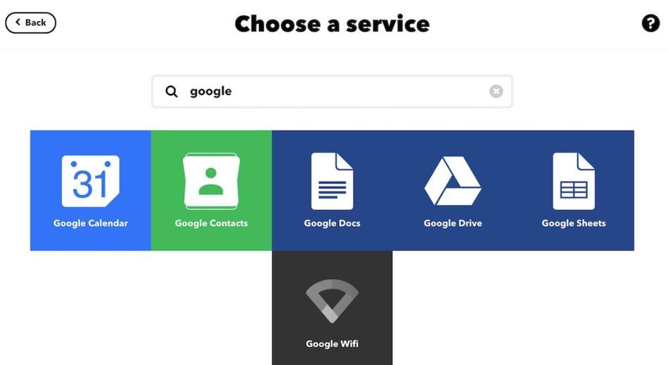 IFTTTのChoose a serviceの画面(2回目)