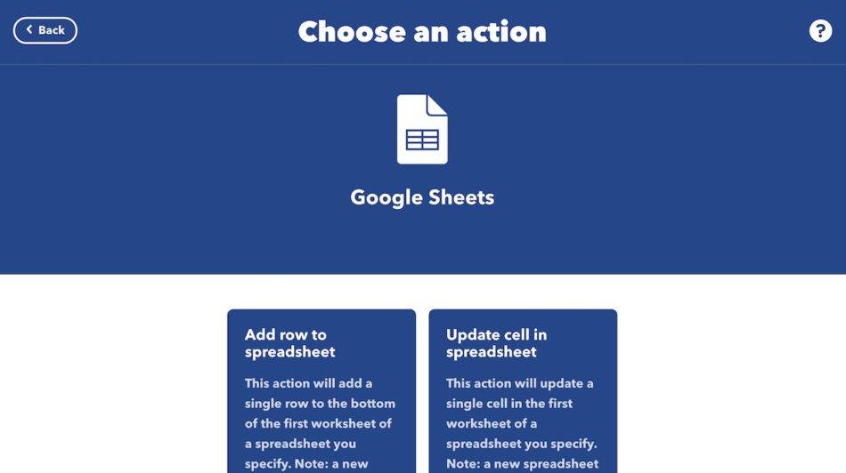Google SheetsのChoose an action